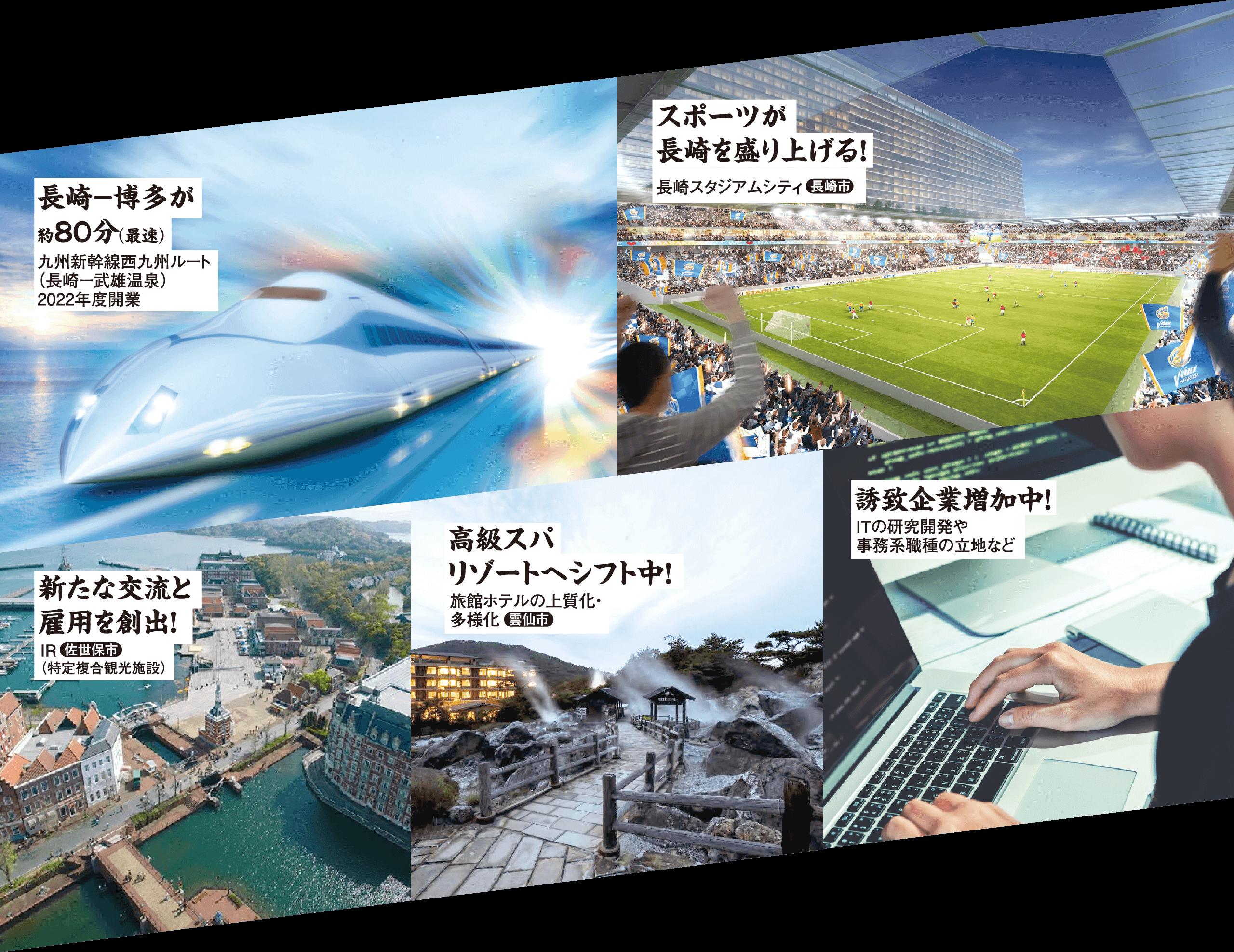 長崎−博多が約80分(最速)/スポーツが長崎を盛り上げる!/新たな交流と雇用を創出!/高級スパリゾートへシフト中!/誘致企業増加中!